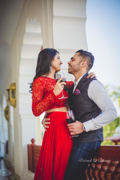Candid capture of the bride and groom during their pre wedding shoot at  Taj Jai Mahal Palace, Jaipur