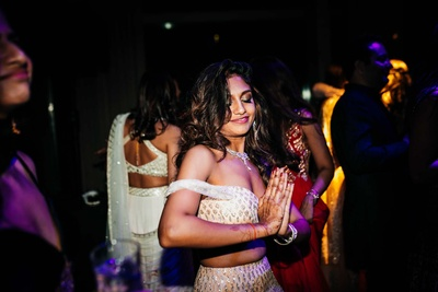 The bride dancing at her sangeet