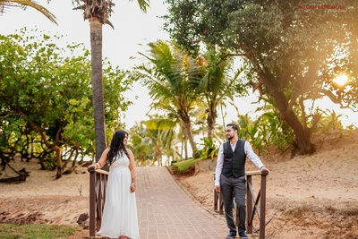 pre wedding afternoon shot in white gown and black suit