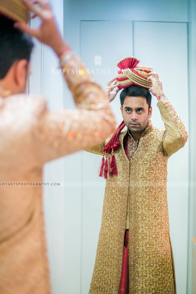 Gold wedding sherwani embellished with silver and gold crystals