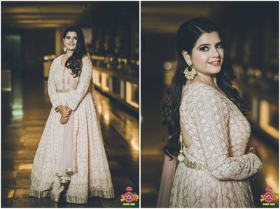 bridal portrait photograohy in her engagement anarkali