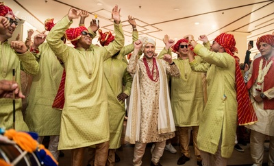 Dulha Nicolas with his baraat.