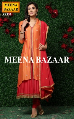 Meena Bazaar Orange Tie Dye Suit