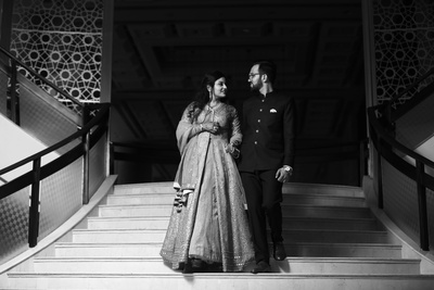 the couple entering their engagement ceremony