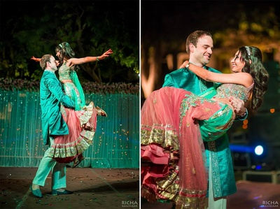 Stefan and Swathi dressed in complementing outfits for their sangeet ceremony