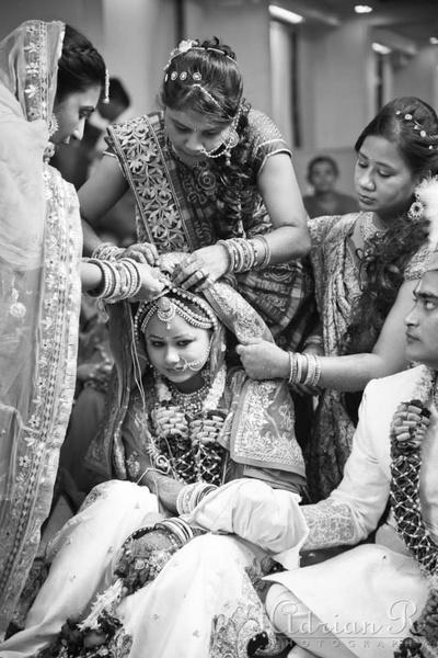 Traditional marwari wedding rituals being performed