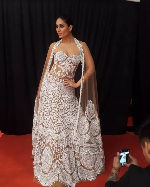 7. When she walked the ramp in a cape-style naked lehenga and wowed us: