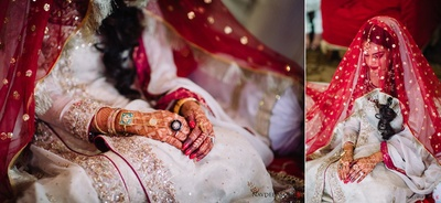 Traditional bride dressed in white and red for the wedding ceremony