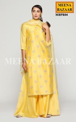 Meena Bazaar Yellow Chanderi Sharara Set