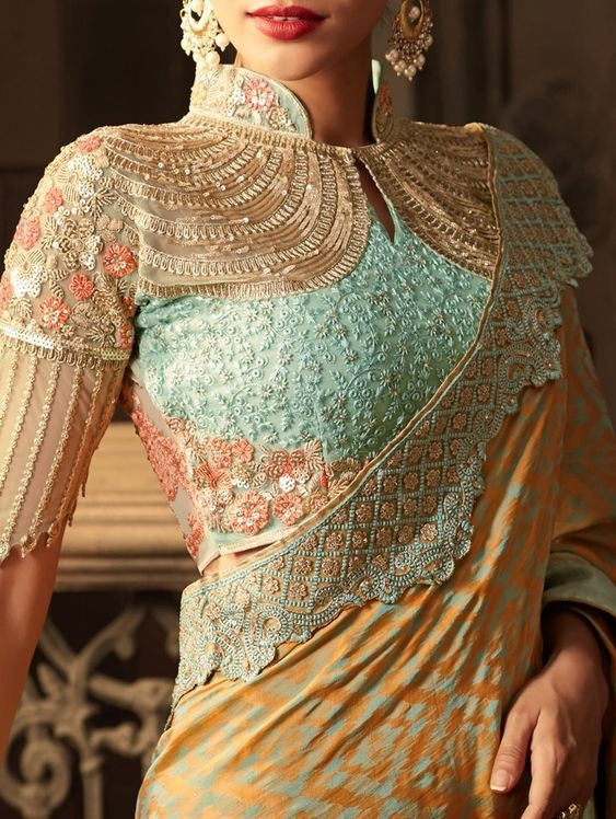 Stand Collar Blouse Designs : Latest blouse design ideas to check out this indian wedding season
