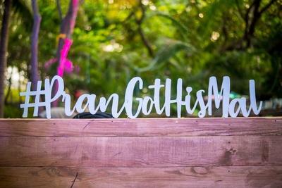 Wedding hashtag as part of the mehndi decor at Aashyana Lakhanpal, Goa