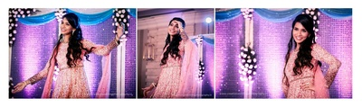 Performing for her sangeet ceremony in a shimmery peach anarkali dress, styled with delicate diamond jewellery