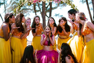 Kiran posing with her bridesmaids for The Photo Diary on her mehndi function day