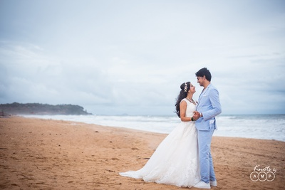 Post wedding poses for the beach themed reception