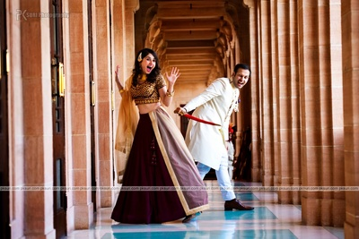 Dressed in royal outfits for their fun filled pre wedding photo shoot captured brilliantly by PK Suri
