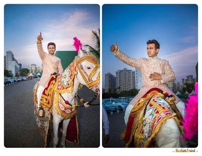 Gold and silver embellished wedding sherwani, styled with white churidaar