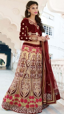 Variation Cream Net Bridal Lehenga Choli