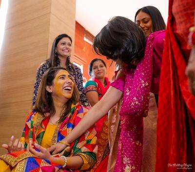 Mansi was all smiles at the haldi ceremony
