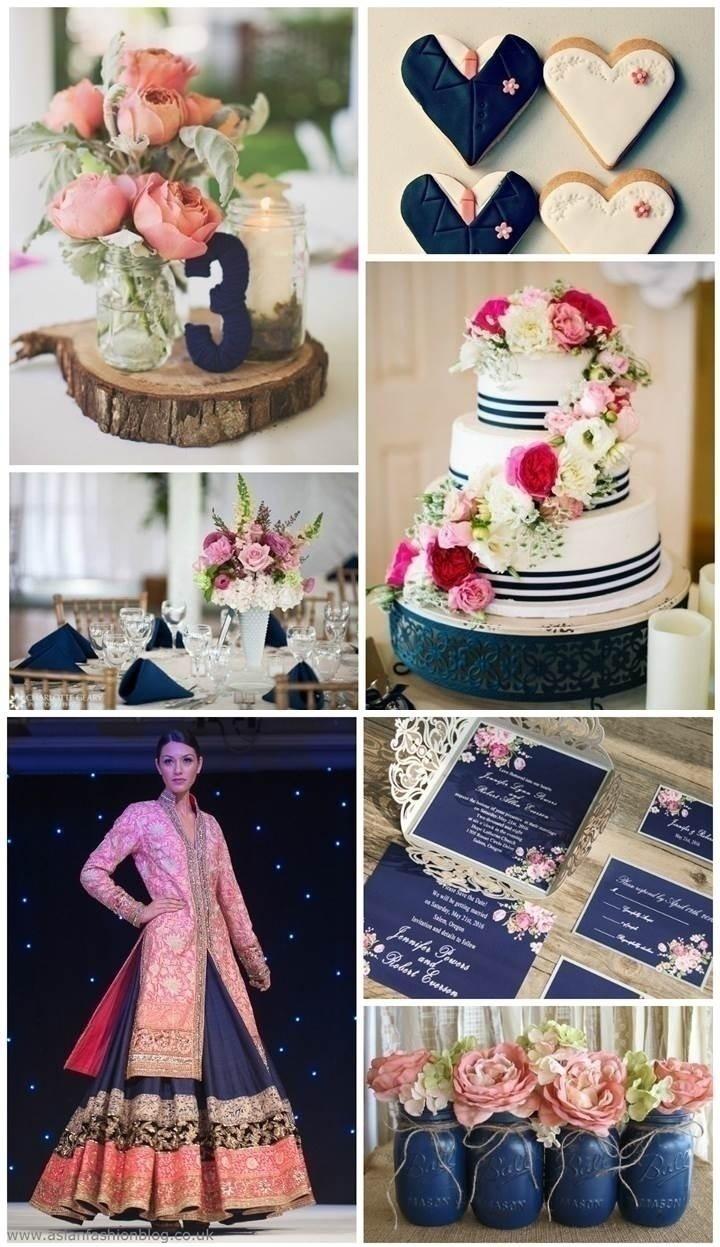 NAVY BLUE AND BLUSH WEDDING THEME IDEA