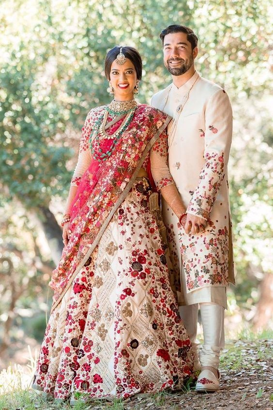 322a64e7ce If colour coordinating your wedding outfits is too common for you, then go  ahead and get your wedding lehenga and sherwani made with matching prints  or ...