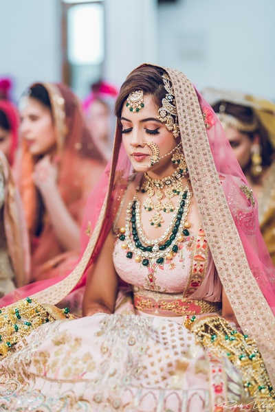 candid bridal photography in her wedding trousseau