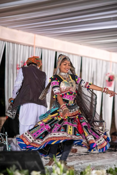Rajasthani performers entertaining guests at the post-wedding dinner.