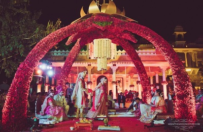 The holy ritual of Saat Pheras during the wedding ceremony