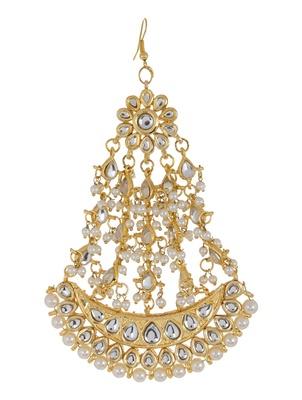 Imli Street Golden Ivory Half-Moon Jadau Jhumar