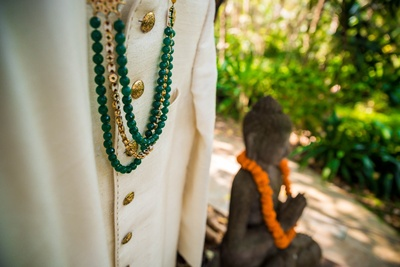 Closeup of the groom's wedding attire for the the hindu ceremony