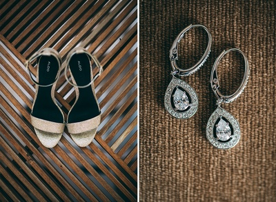 Gold strappy bridal sandals by Aldo, to be styled pear drop diamond studded earrings