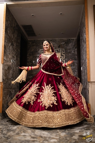 the bride twirling in a sabyasachi lehenga