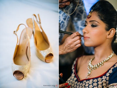 Glamorous smoky eye makeup with nude glossy lipstick styled with gold peep-toe heels