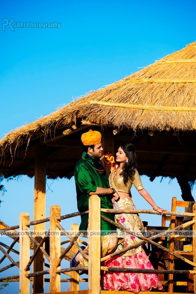 Dressed in ethnic outfits for their personalized destination pre wedding photo shoot. Ethnic inspirational pre wedding photo shoot