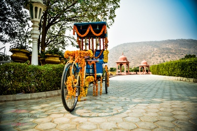 Rikshaw decorated with genda flower for the bridal entry