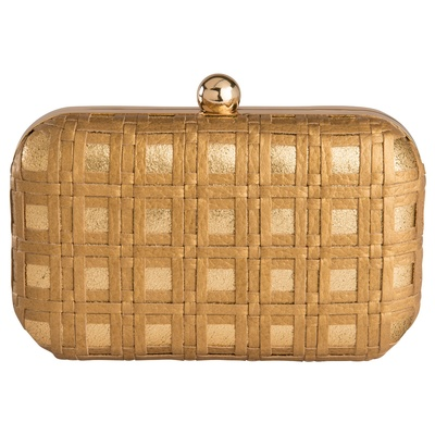Devina Juneja Check Weave Clutch - Gold