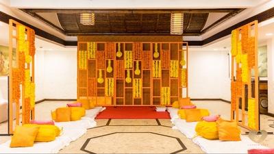 The beautiful genda phool decor for the Haldi ceremony.