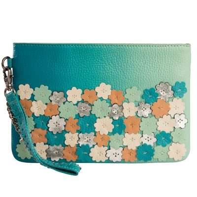 Devina Juneja Flowers In Bloom Wristlet Aqua
