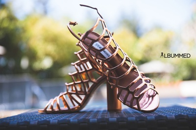 Copper metallic Steven Madden bridal shoes for the wedding day.