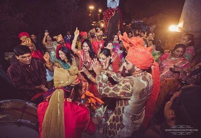 Groom enjoying the dance in his baraat