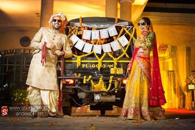 Whacky post-wedding photoshoot, using rickshaw as an prop