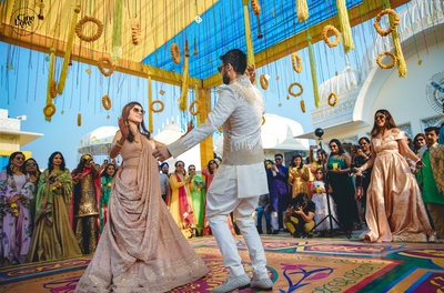 The couple grooving at their sangeet ceremony.