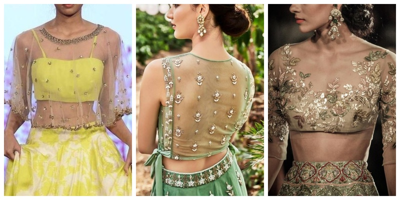 20 net blouse designs to wear with sarees or lehengas on your big day!