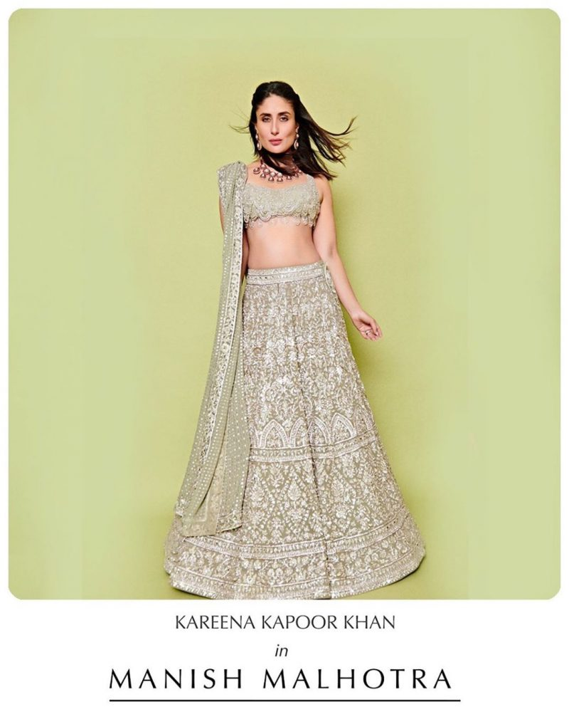Party wear lehenga mint green kareena kapoor manish malhotra