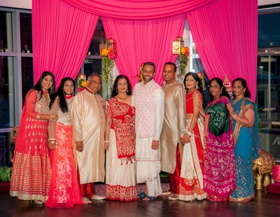 Amit and his family dressed in traditional Gujurati attire for the garba/sangeet night