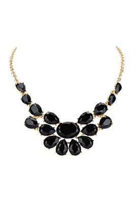 Nizanta Black Stone Bib Necklace
