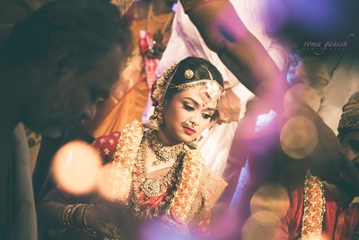 Candid bridal shot during the wedding ceremony