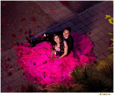 Hot pink princess gown making the bride look like Barbie!