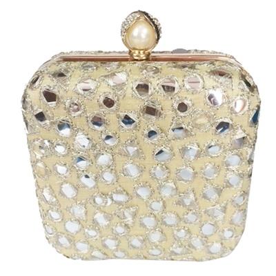 Princesse K Gold Mirror Work Square Box Clutch