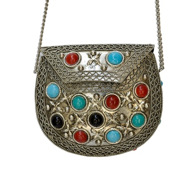 Boontoon Oxidized and Stone Embedded Purse with Chain Strap