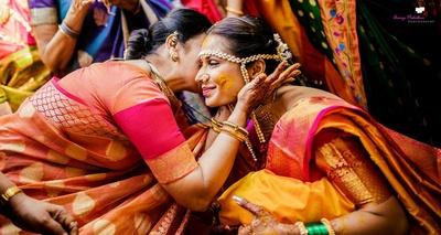 The bride at her haldi ceremony